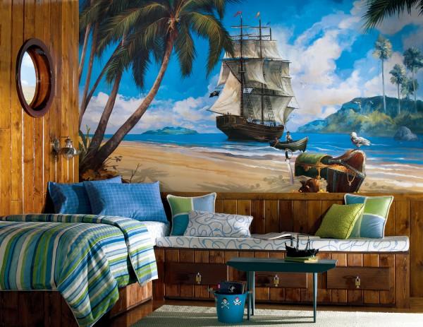 Готовые фотообои детские с изображением старинного корабля и сундука с сокровищами, хорошо подходят в морской интерьер будущего искателя приключений