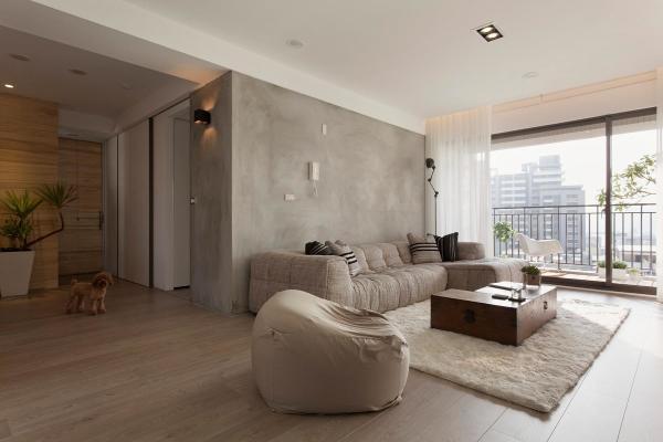 Имитация бетона в качестве акцента на одной стене