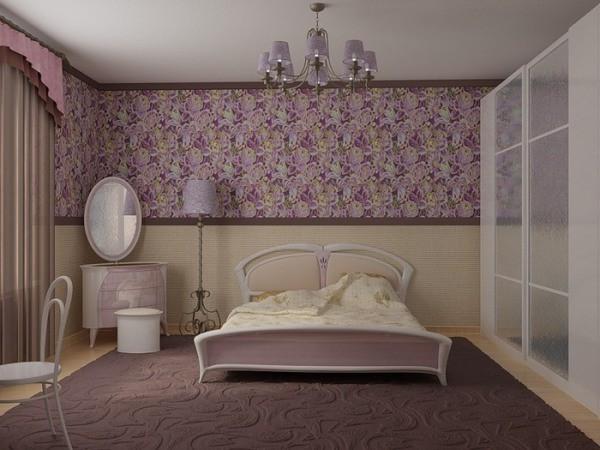 Использование горизонтального комбинирования обоев в спальне