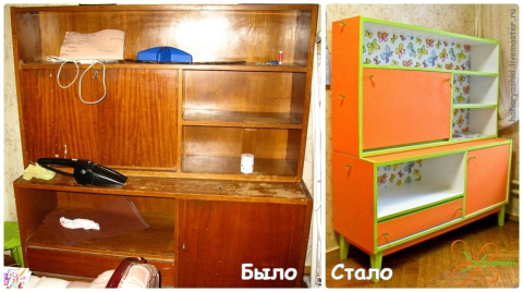 Как покрасить лакированный шкаф