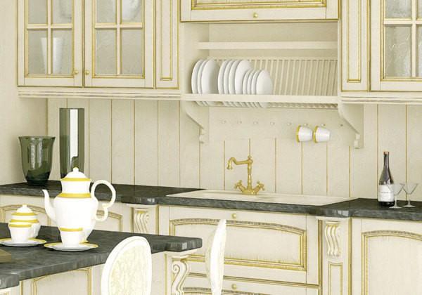 Кухня в стиле Прованс, обшитая деревянной вагонкой