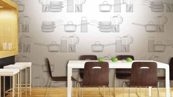 Кухонные обои с тематическим орнаментом