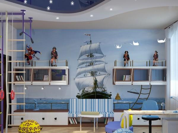 На фото, детская комната юного пирата, с фотообоями для мальчиков с изображением быстрого фрегата на фоне голубого моря и неба