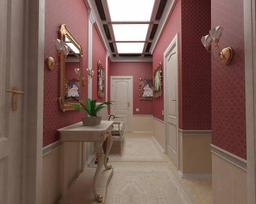 На фото, показан пример, как оформить стены в коридоре в квартире, с помощью различных отделочных материалов, картин, зеркал и светильников
