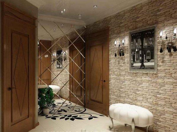 Необычно и интересно смотрятся стены коридора, оформленные каменной кладкой или зеркальной плиткой, добавив таких аксессуаров, как картина или настенные светильники, вы только подчеркнёте благородство и эстетику отделки