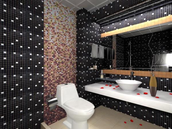 Оригинальный дизайн туалета, созданный при помощи пластиковых панелей, имитирующих мозаичную плитку