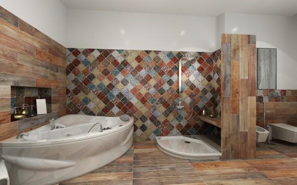 Плитка на стене ванной