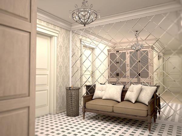 Пример оформления стены в коридоре зеркальной плиткой, которая визуально делает помещение больше