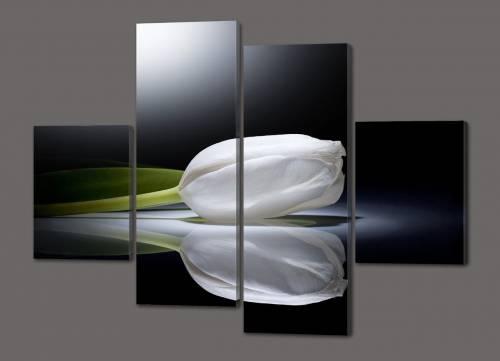 Разделённое настенное панно из стекла с изображение белых тюльпанов
