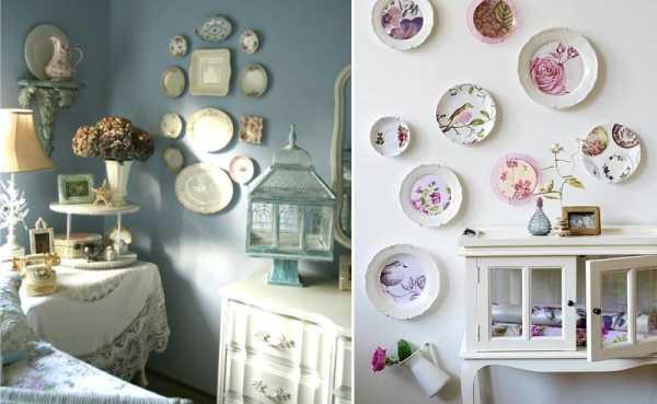 Самодельные тарелки на стене