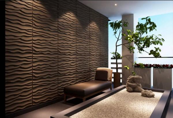 Стена, отделанная пластиковыми панелями в японском интерьере