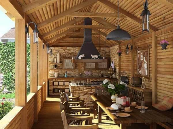 Веранда, целиком построенная из дерева, и выполненная в стиле кантри