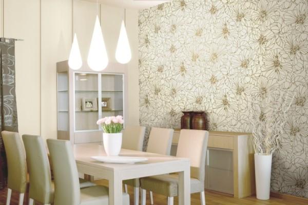 Виниловые обои хорошо подходят практически для любых помещений, на фотографии мы видим оформление стен в белоснежной столовой