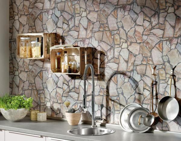 Виниловые обои могут имитировать различные материалы, что позволяет подобрать нужную текстуру для любого стиля интерьера помещения