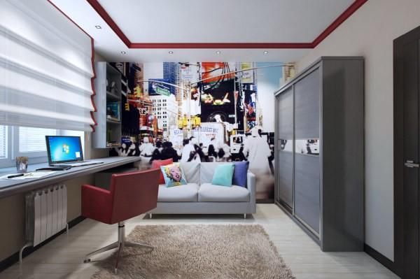 Вот один из примеров, как можно оформить комнату мальчика-подростка, украсив её минималистическое светлое оформление с помощью динамичных и ярких фотообоев