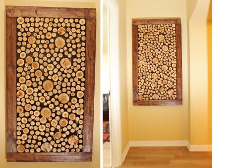 Деревянное панно из распиленных веток дерева, может украсить даже самый простой интерьер и дизайн дома или квартиры