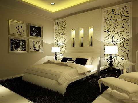 Дизайн оформление стены в спальне