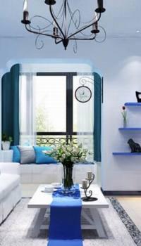 Голубой цвет со светлой мебелью