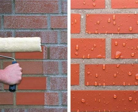 Хорошим достоинством фасадной краски для кирпичных стен, является её качество отталкивать воду, что хорошо в регионах с повышенной влажностью