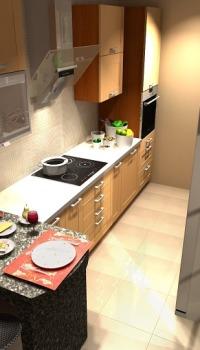 Моющиеся обои с имитацией плитки, помогут сэкономить необходимые сантиметры на небольшой кухне