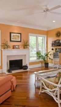 Отделка стен гостиной в оранжевый цвет