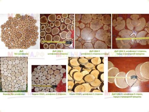 Панно из срезов веток На фото мы видим различные элементы из распиленных веток разных деревьев