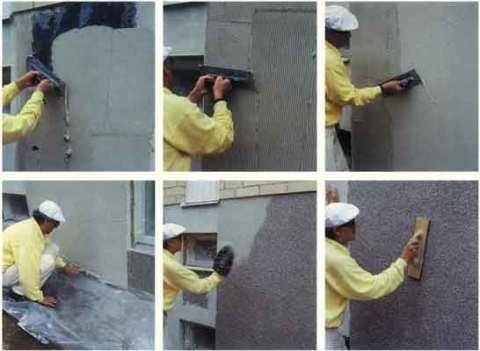 Покрытие стены мраморной крошкой