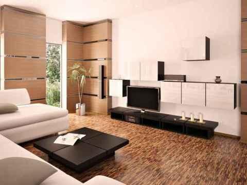 Применение ламината в отделке гостиной