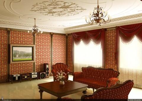 Применение обоев в отделке гостиной