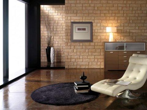 Применение плитки в отделке в гостиной