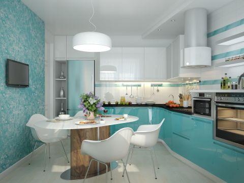 С помощью декоративной штукатурки, можно оригинально украсить пустующую стену на небольшой кухне