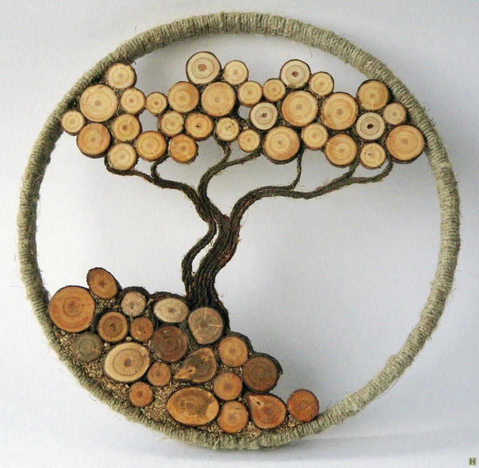 Поделки на срезе дерева