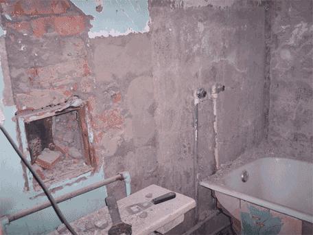 Ванная комната после снятия кафеля