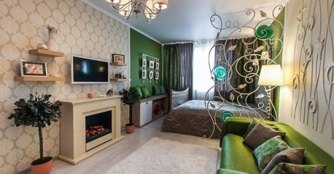 Зонирование гостиной разными цветами