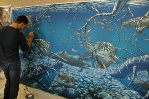 Декорирование стен акриловой краской