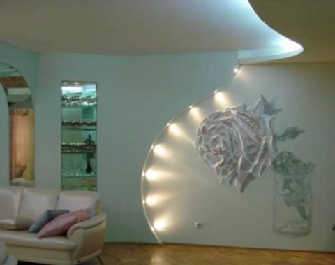 Декорирование стен водоэмульсионной краской с подсветкой