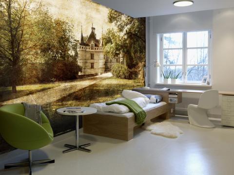 Интерьер комнаты с фотообоями.