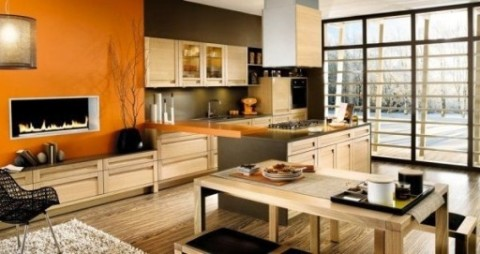 Комбинирование обоев в кухне