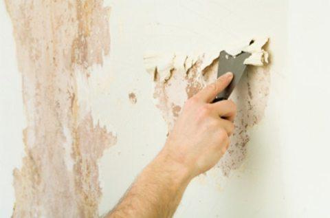 Очищение стены от старого покрытия