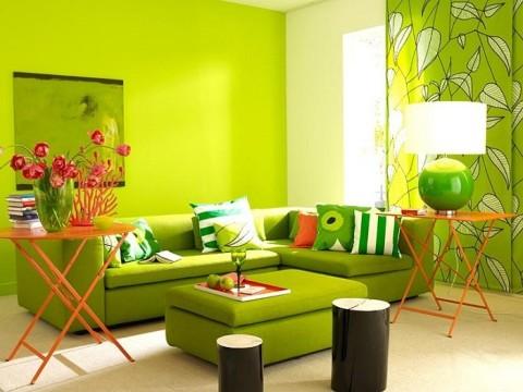 Салатовая краска для гостиной