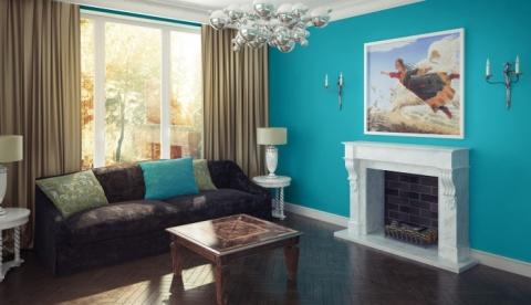 Бирюзовый цвет обоев в интерьере гостиной
