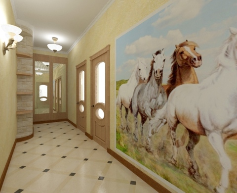 Длинное помещение можно видоизменить, используя разные обои для прихожей и коридора.