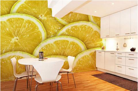 Фруктовые фотообои в дизайне кухни
