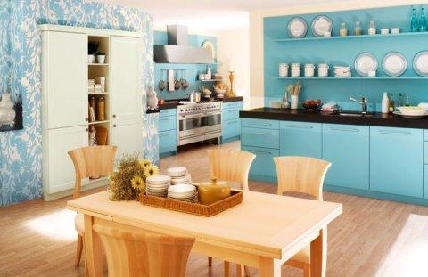 Голубые обои для кухни