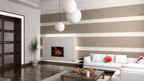 Горизонтальный рисунок обоев для большой гостиной