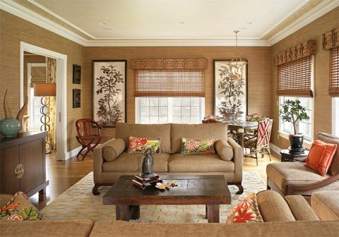 Гостиная в японском стиле с бамбуковыми обоями
