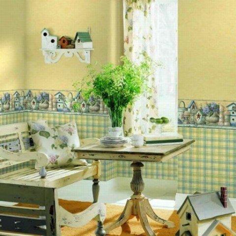 Контрастные цвета обоев для небольшой кухни