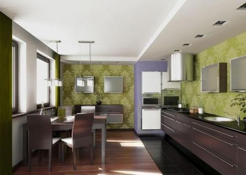 Обои для кухни салатового цвета в сочетании с шоколадной кухней