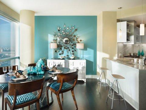 Покраска стен в два цвета дизайн для кухни