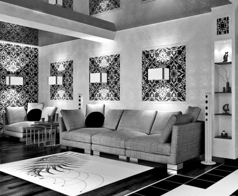 Прекрасно впишется бело-черная цветовая гамма в гостиную комнату